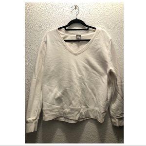 white v-neck sweater